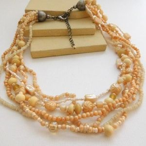 Jewelry - Vintage Peach Cream Glass Layered Choker Necklace